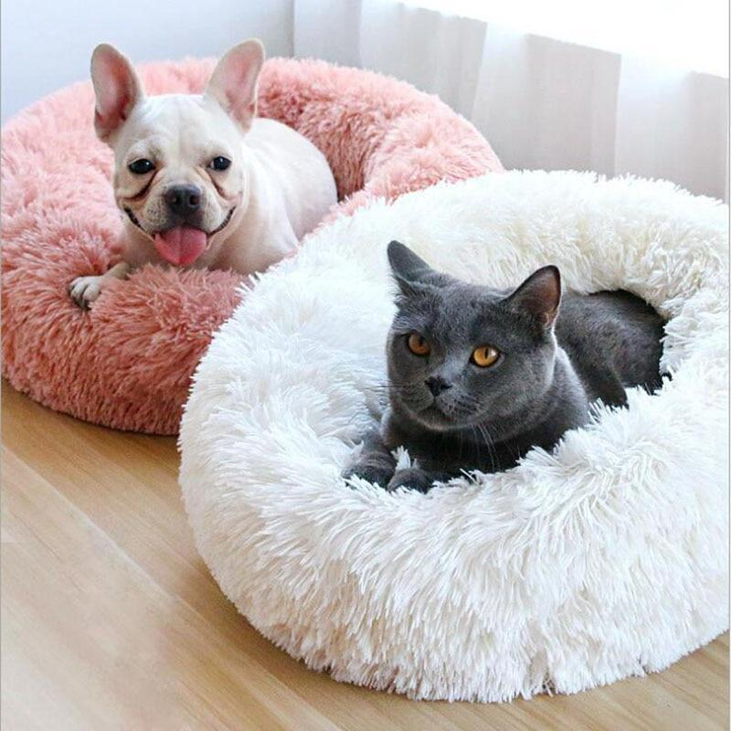 Fluffy Soft Warm Plush Round Pet Bed - Comfy Donut Dog Cat Fur Cushion Bed - White / 70cm(M)