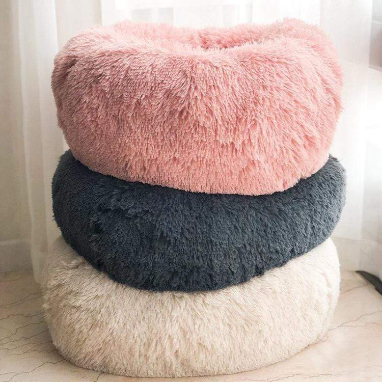 Fluffy Soft Warm Plush Round Pet Bed - Comfy Donut Dog Cat Fur Cushion Bed