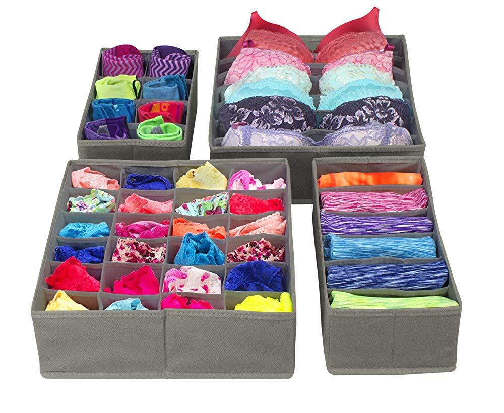 Foldable Drawer Closet Organizer - Scarfs Socks Bra Organizer Storage Box - Gray