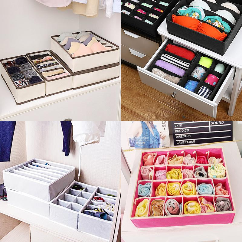 Foldable Drawer Closet Organizer - Scarfs Socks Bra Organizer Storage Box
