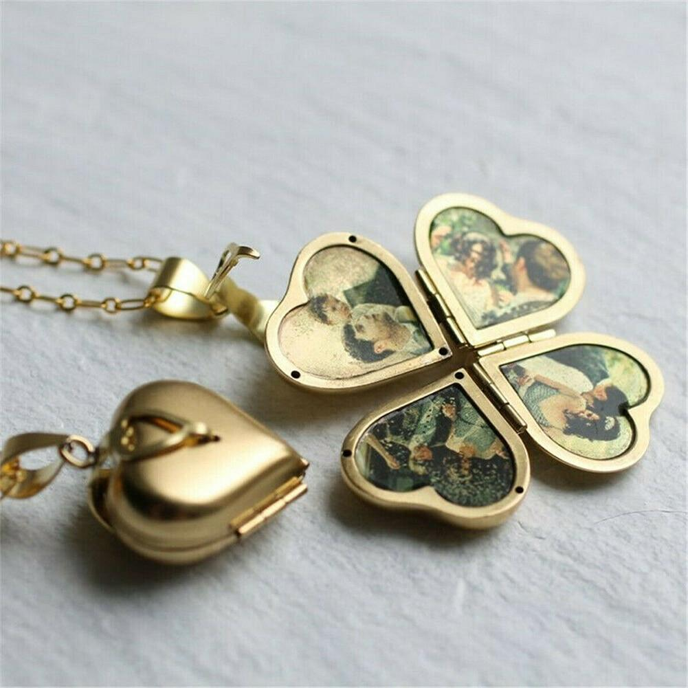 Folding Vintage Heart Clover Locket Pendant - Family Photo Locket - Pendants