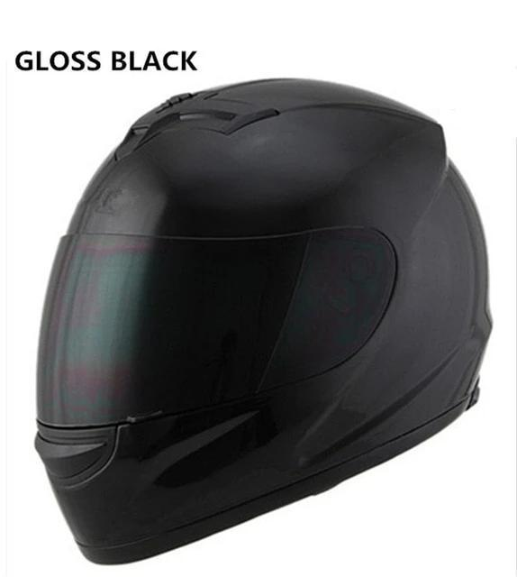 Full Face Motorcycle Helmet with Bluetooth - gloss black helmet / S