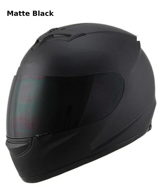 Full Face Motorcycle Helmet with Bluetooth - matte black helmet / S