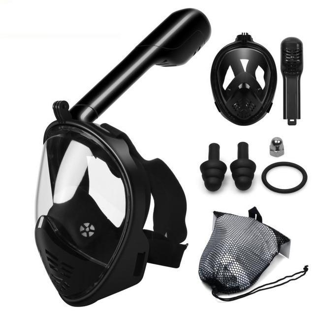 Full Face Snorkel Mask With GoPro Mount Underwater Scuba Diving Mask - Black N75 / S/M