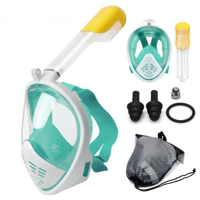 Full Face Snorkel Mask With GoPro Mount Underwater Scuba Diving Mask - Green N75 / S/M