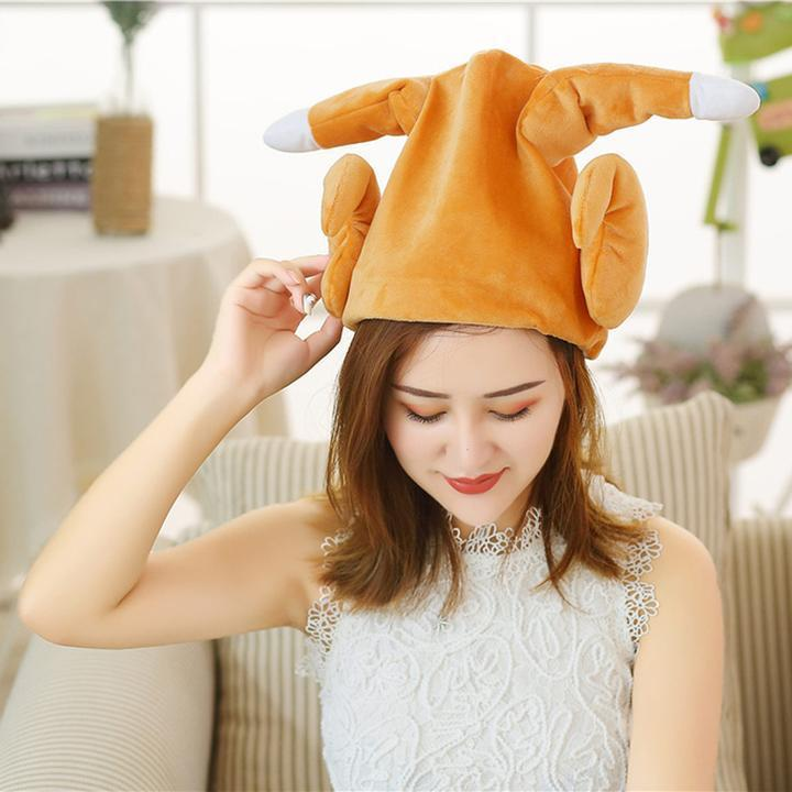 Funny Dancing Turkey Hat - Plush Stuffed Gift Toy Adjustable Hat - Stuffed & Plush Animals