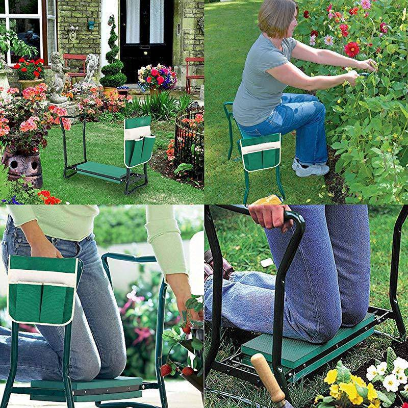 Garden Kneeler and Folding Seat Garden Bench Stainless Steel Garden Stool with Tool Bag - Garden Chairs