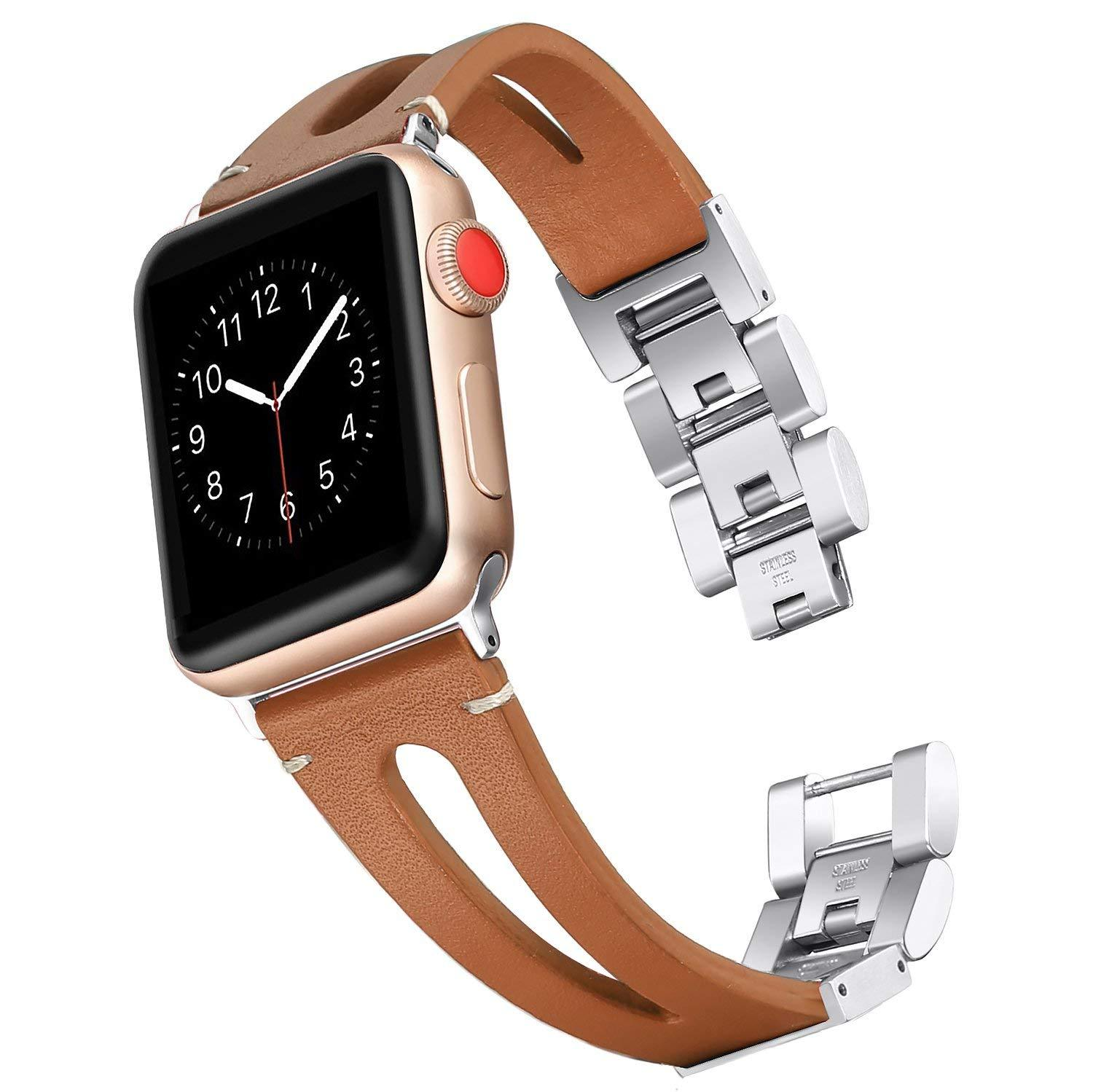 Genuine Calf Leather Apple Watch Bands 38mm/42mm/40m/44mm - iWatch Band Series 4 3 2 1 - Brown / 38mm-40mm - Watchbands
