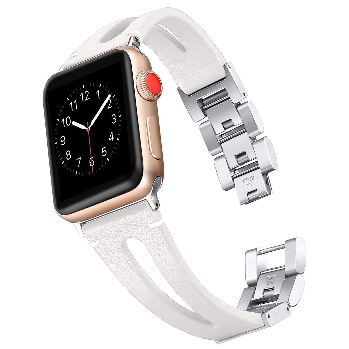 Genuine Calf Leather Apple Watch Bands 38mm/42mm/40m/44mm - iWatch Band Series 4 3 2 1 - White / 38mm-40mm - Watchbands