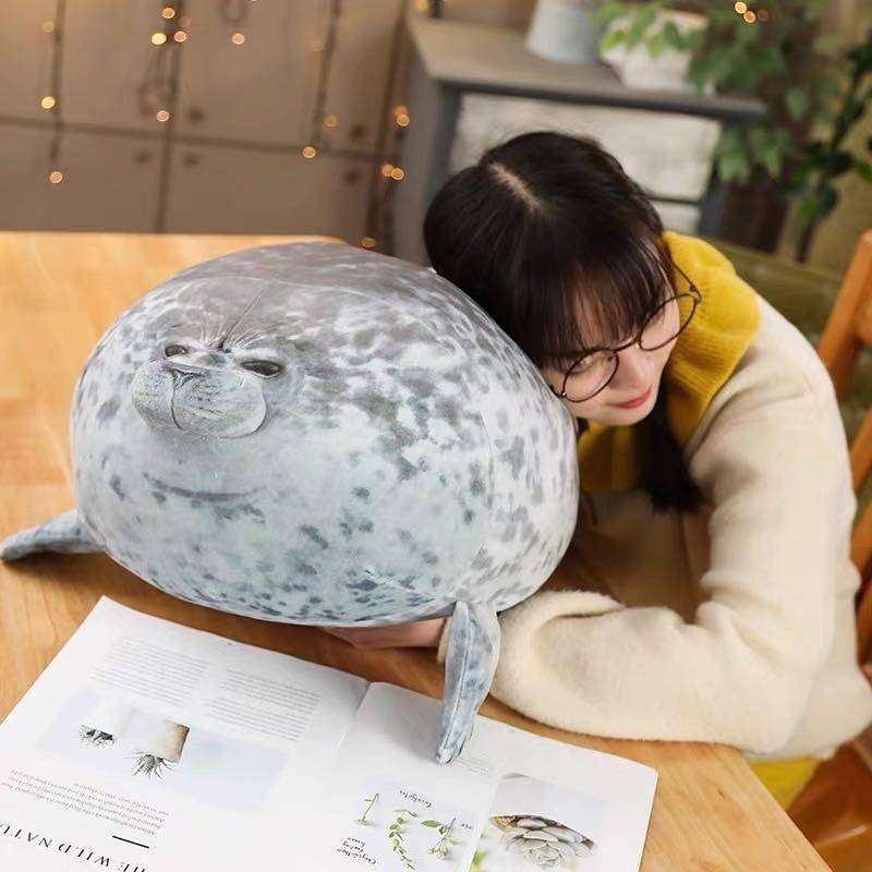 Giant 3D Blob Seal Pillow Soft Hugging Stuffed Cotton Plush Animal Toy - 30cm/12 inch / Gray - Stuffed & Plush Animals