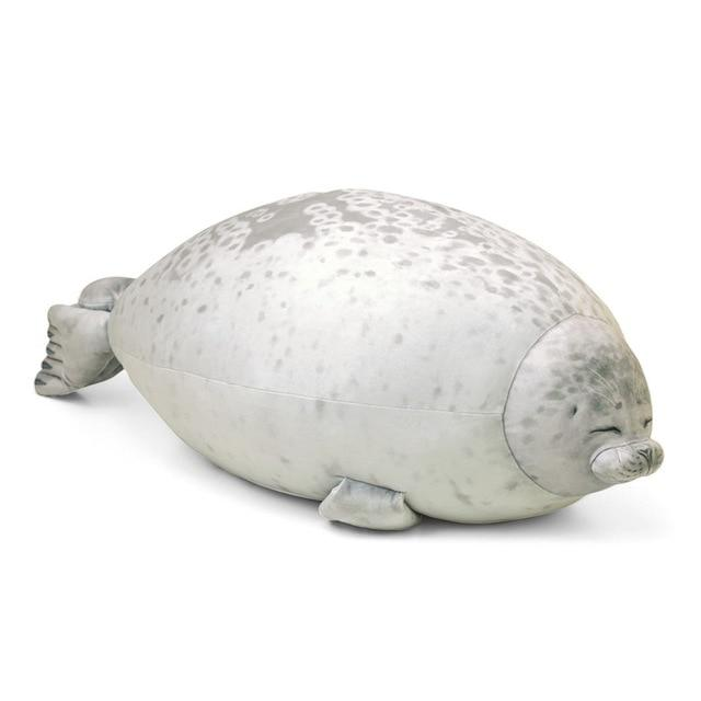 Giant 3D Blob Seal Pillow Soft Hugging Stuffed Cotton Plush Animal Toy - 30cm/12 inch / White - Stuffed & Plush Animals
