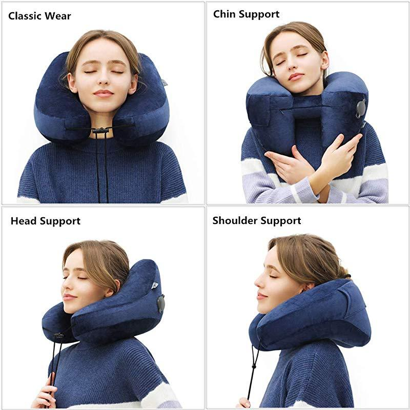 H-Shape Inflatable Travel Pillow - Neck & Chin Support Air Cushion Nap Neck Pillow - Travel Pillows