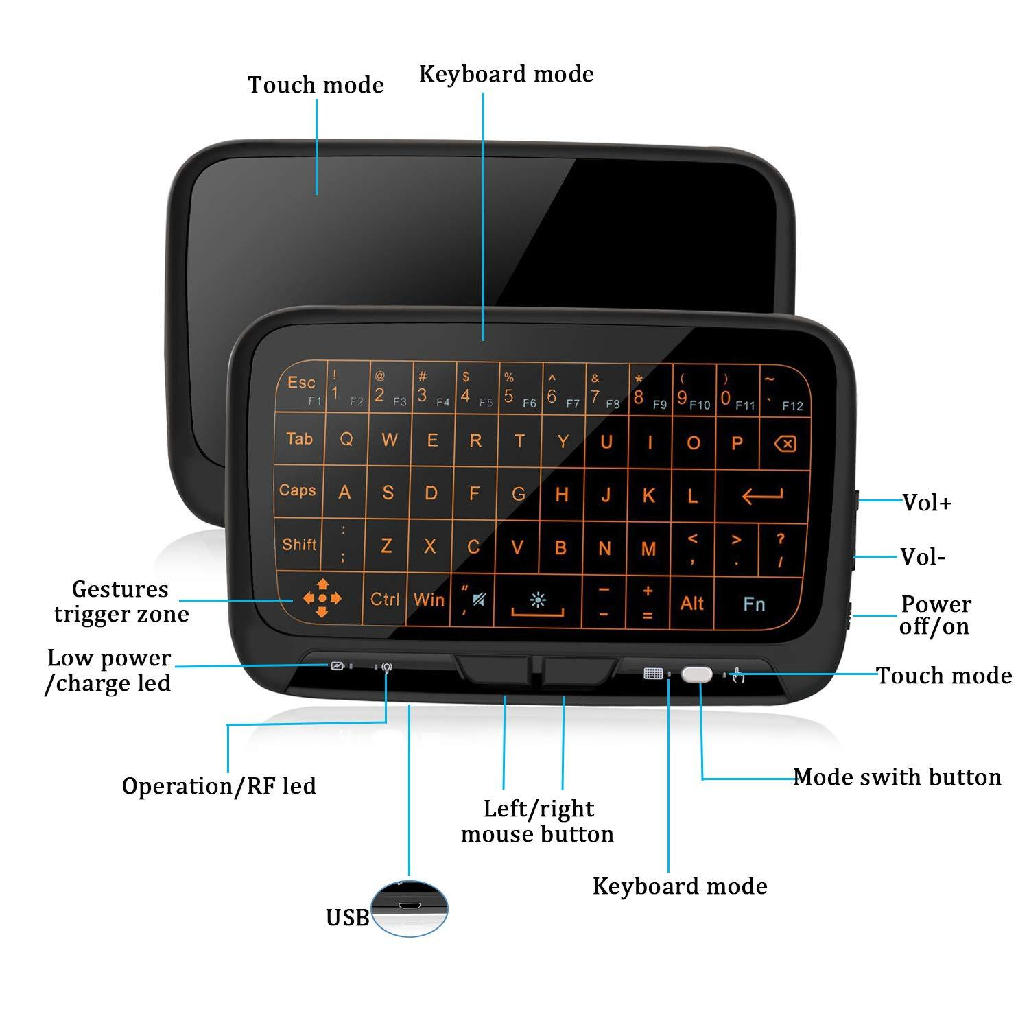 H18+ Backlit Mini 2.4GHz Wireless Full Touchpad Keyboard Mouse Remote Control For Smart TV Laptop PC