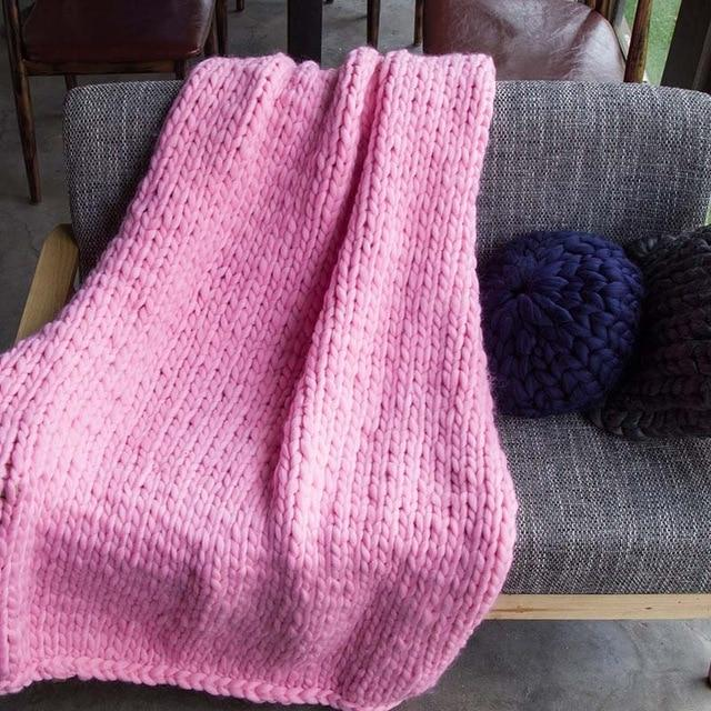 Handmade Super Chunky Knitted Blanket - Large Throw Blanket - Pink / 100x100cm(39x39 inch) - Blankets