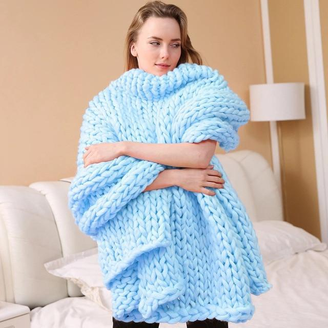 Handmade Super Chunky Knitted Blanket - Large Throw Blanket - Sky Blue / 100x100cm(39x39 inch) - Blankets