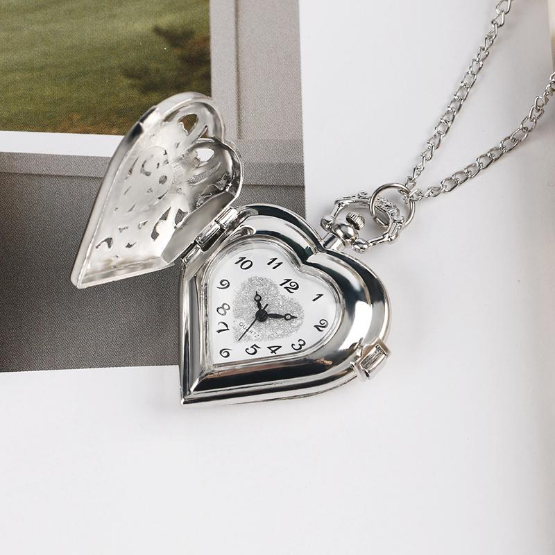Heart Shaped Elegant Quartz Pocket Watch Necklace Pendant - Silver - Pocket & Fob Watches