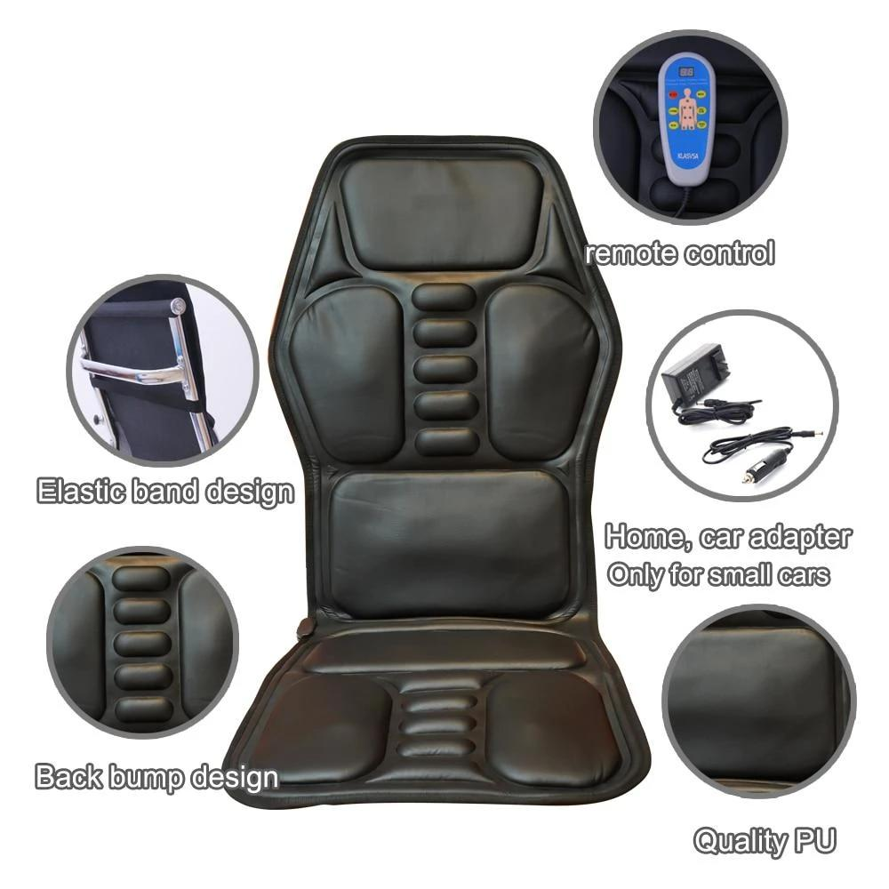 Heating Vibrating Back Massager Chair-In-Cushion Car Home Office Lumbar Neck Pain Relief - Massage & Relaxation