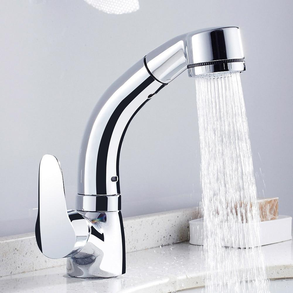 Height Adjustable Pull Out Bathroom Basin Faucet Sink Tap - Basin Faucets