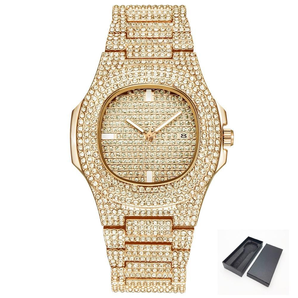 ICE-Out Bling Diamond Watch For Men and Women Hip Hop Luxury Watch - Gold