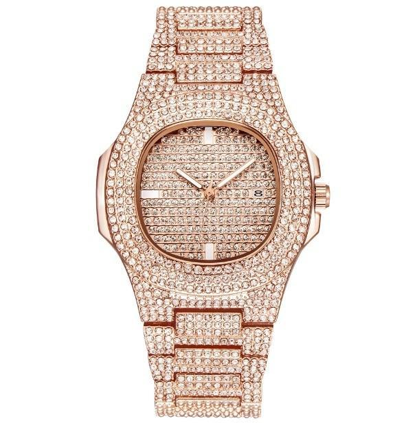 ICE-Out Bling Diamond Watch For Men and Women Hip Hop Luxury Watch - Rose