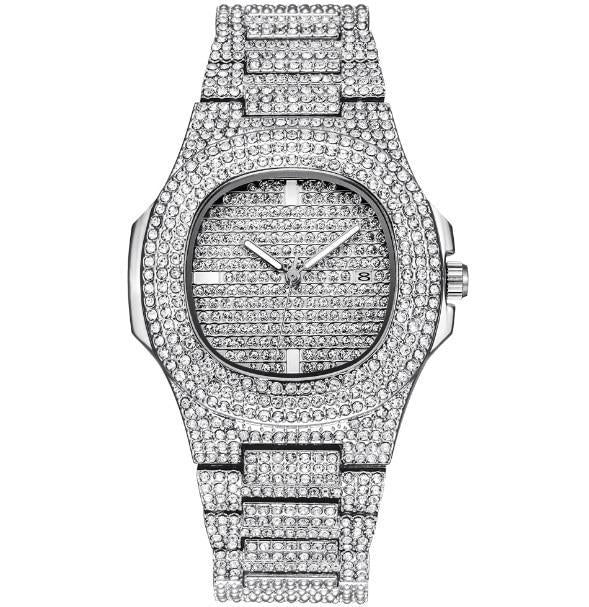ICE-Out Bling Diamond Watch For Men and Women Hip Hop Luxury Watch - Silver