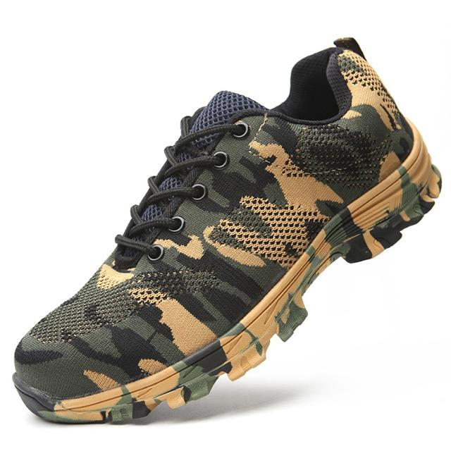 Indestructible Bulletproof Steel Toe Ultra Protection Construction Work Shoes - Green Camouflage / US 5.5 (UK 5)(EUR 37) - Work & Safety