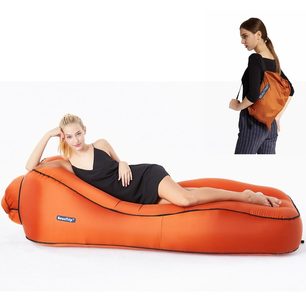 Inflatable Camping Air Lounger - Lazy Beach Sleeping Sofa Couch Bed - L9S Orange