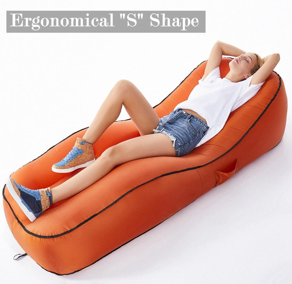 Inflatable Camping Air Lounger - Lazy Beach Sleeping Sofa Couch Bed