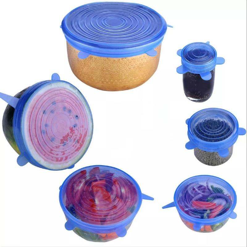 Insta Lids - Reusable Silicone Stretch Lids (6 pcs set) - Cookware Lids
