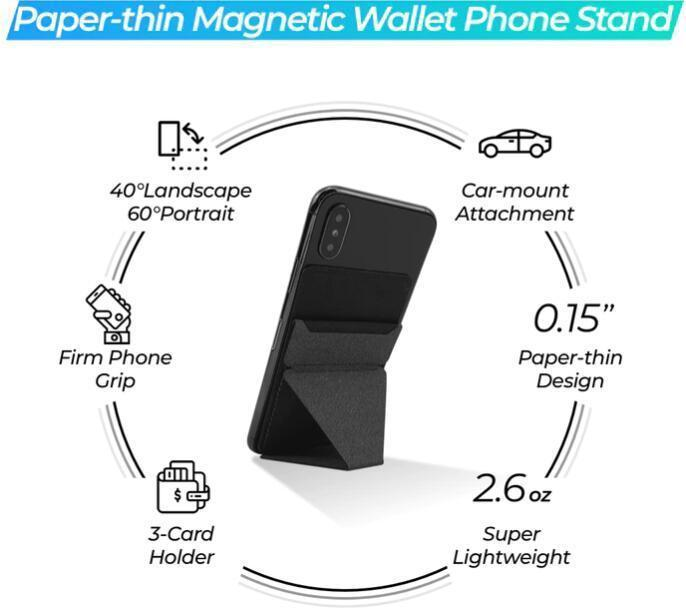 Invisible Foldaway Paper-thin Micro Wallet Phone Stand