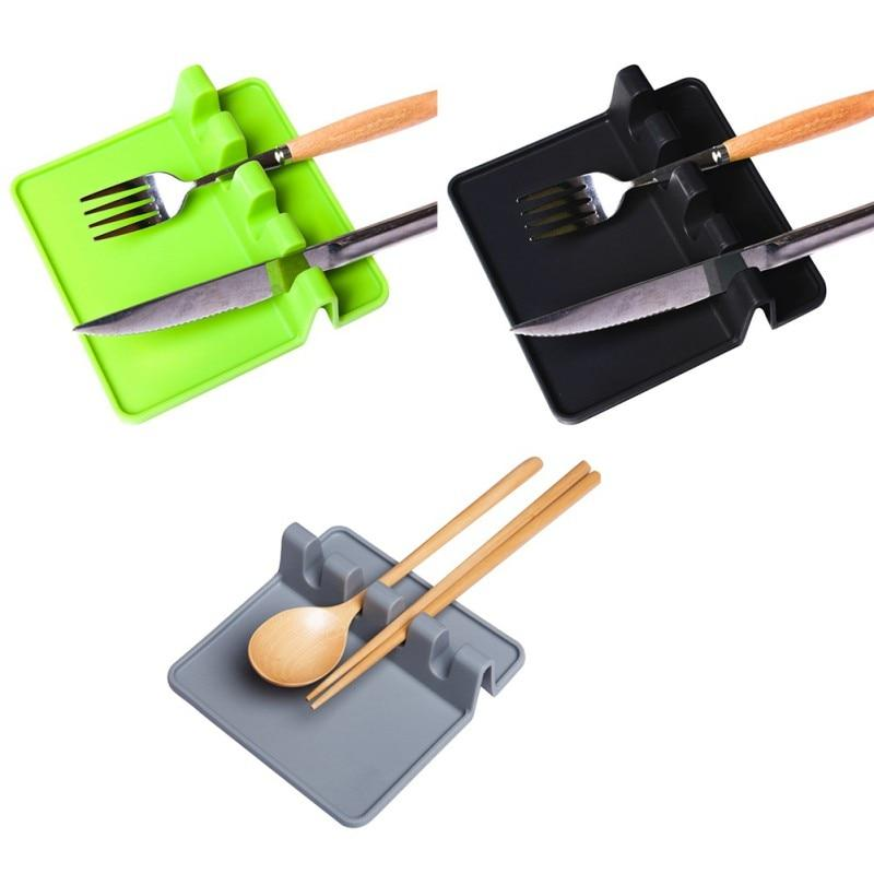 Kitchen Cooking Utensil Holder Heat Resistant Silicone Spatula Holder - Green - Spoon Rests & Pot Clips
