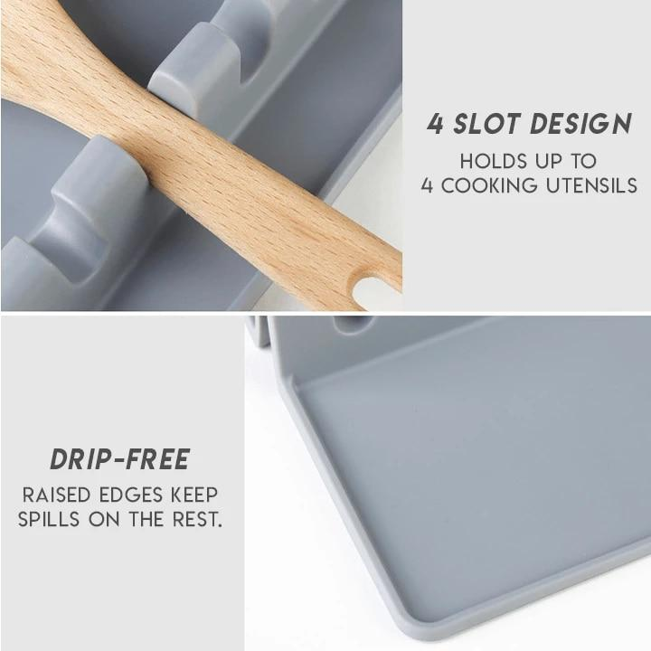 Kitchen Cooking Utensil Holder Heat Resistant Silicone Spatula Holder - Spoon Rests & Pot Clips
