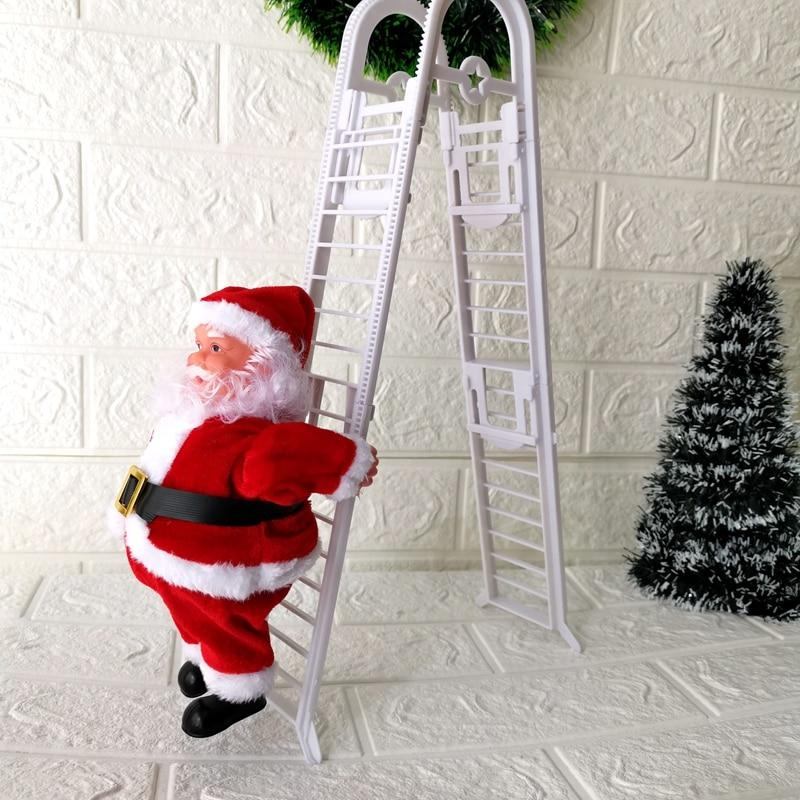 Ladder Climbing Santa Claus With Music Hanging Decoration Christmas