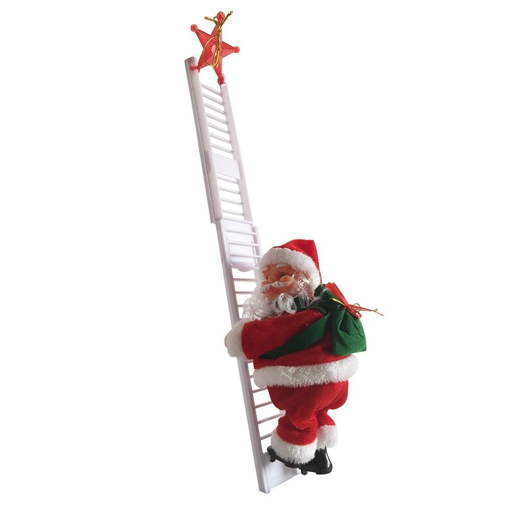 Ladder Climbing Santa Claus With Music Hanging Decoration Christmas - Ladder