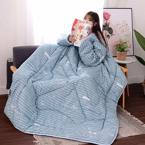 Lazy Winter Sleeved Quilt Cozy Blanket - 150X200Cm / Blue Fish - Quilts