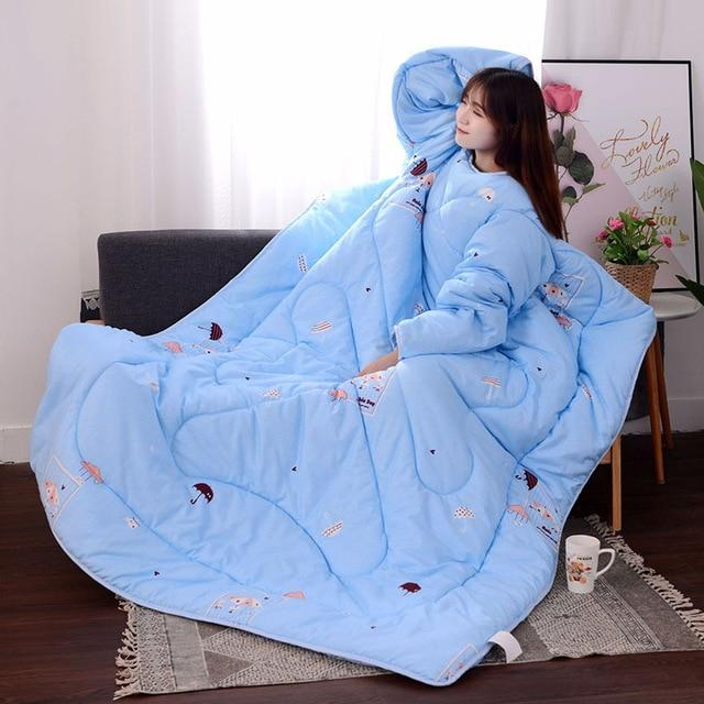 Lazy Winter Sleeved Quilt Cozy Blanket - 150X200Cm / Blue Umbrella - Quilts