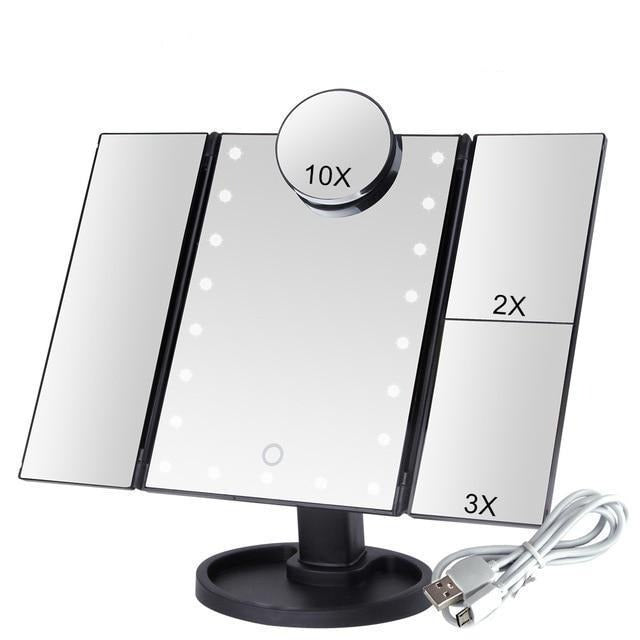 LED Light Touch Screen Makeup Mirror With 10X Magnifying Mirror - 22 Lights Black
