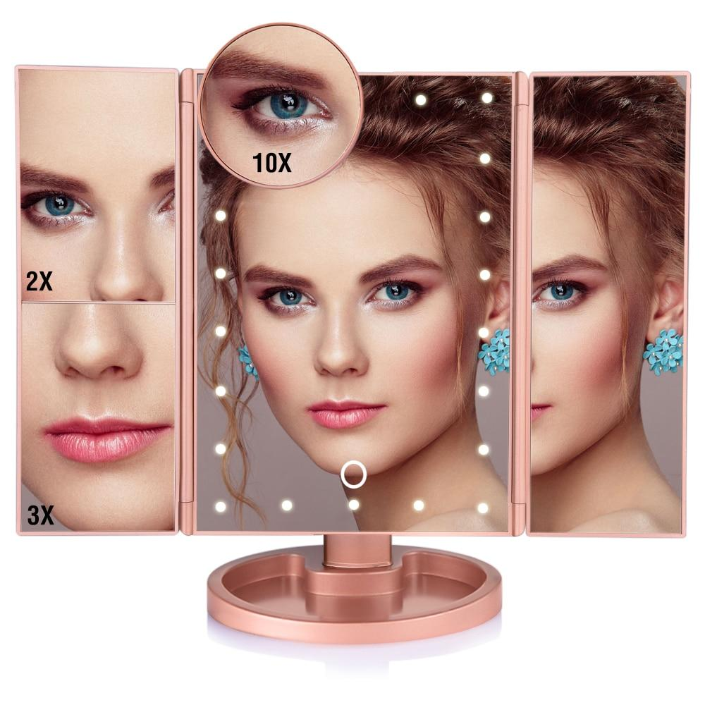 LED Light Touch Screen Makeup Mirror With 10X Magnifying Mirror - 22 Lights Rose Gold