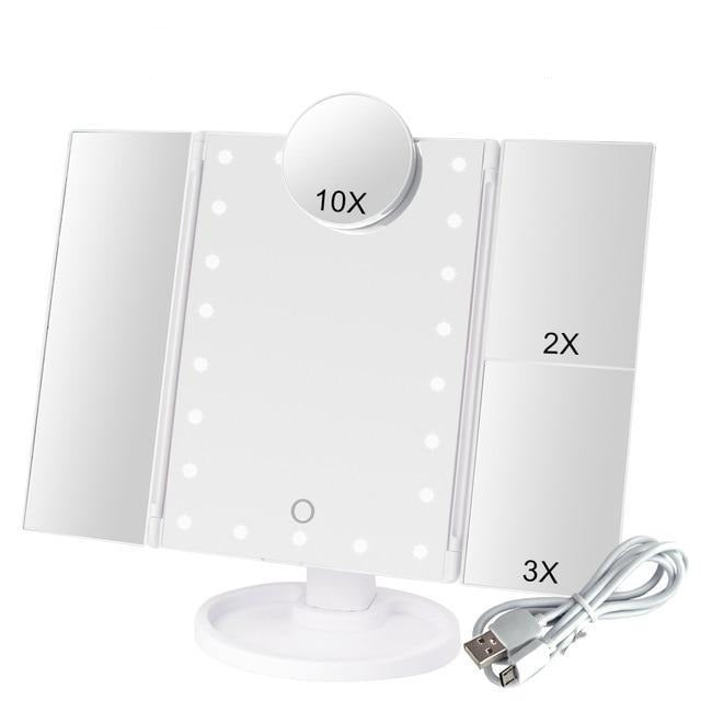 LED Light Touch Screen Makeup Mirror With 10X Magnifying Mirror - 22 Lights White