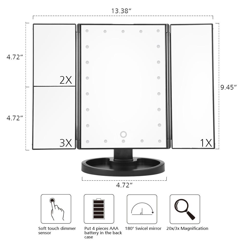 LED Light Touch Screen Makeup Mirror With 10X Magnifying Mirror