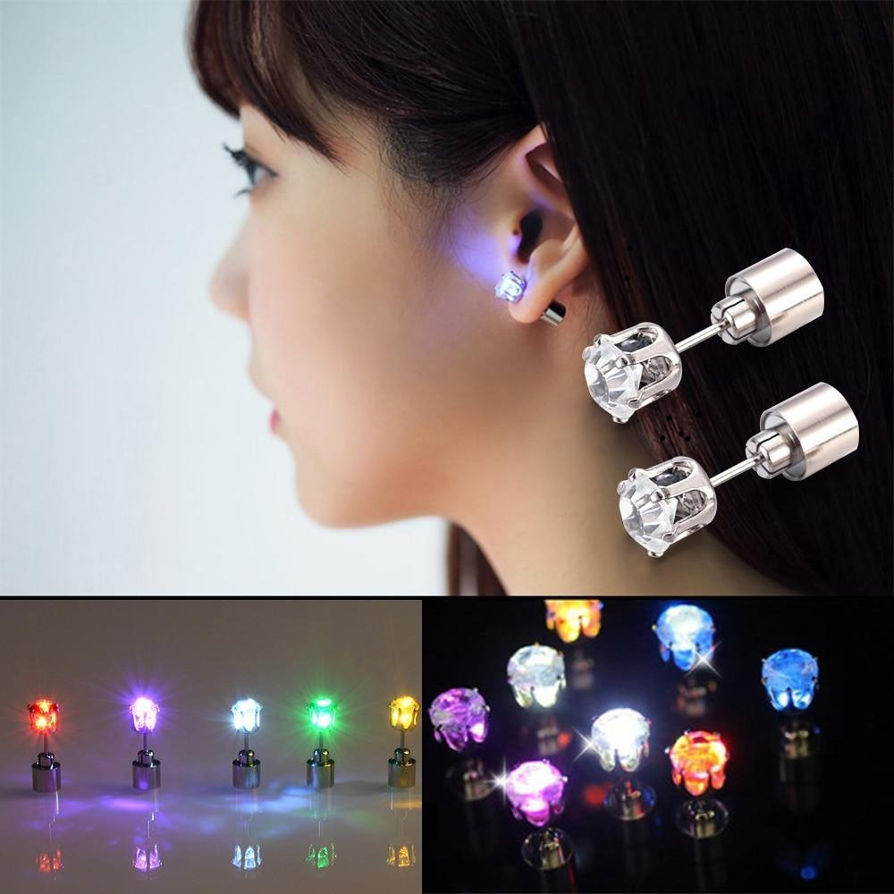 Light Up Bling LED Earrings - Glowing Crystal Party LED Ear Studs - Stud Earrings