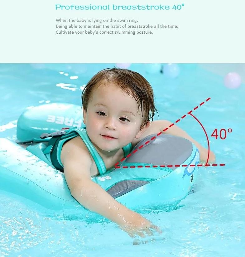 Mambo Baby Non Inflatable Baby Swim Float Ring - Infant Floaties Swim Trainer With Canopy