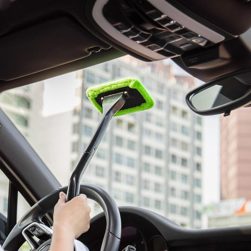Microfiber Car Windshield Cleaner Brush Wiper - Auto Cleaner Tool - Green