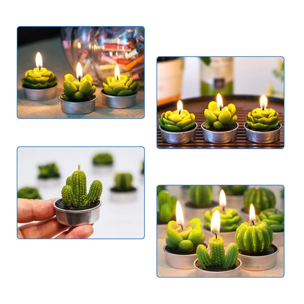 MIni Cactus Candles - Home Decor Tea Light Green Candles - Candles