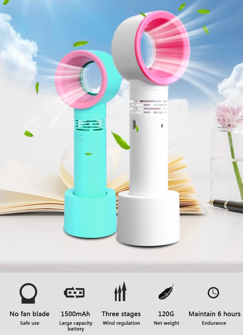 Mini Portable Handheld Bladeless Desk Fan USB Rechargeable - Fans