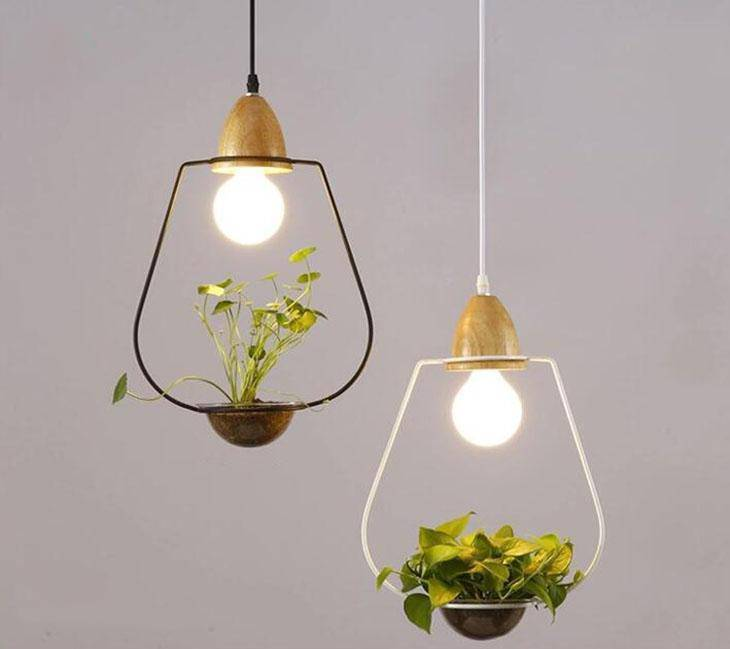 Modern Simple Nordic Iron Pendant Planter Lamp - Cone White - Pendant Lights