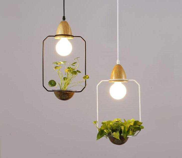 Modern Simple Nordic Iron Pendant Planter Lamp - Square White - Pendant Lights