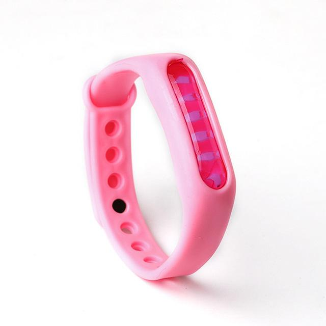 Mosquito Repellent Bracelet Insect Bug Repellent Silicone Wristband - Pink - Repellents