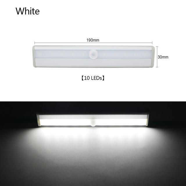 Motion Sensor LED Cabinet Light Wardrobe Kitchen Light - 10 LED Cool White / Rechargeable