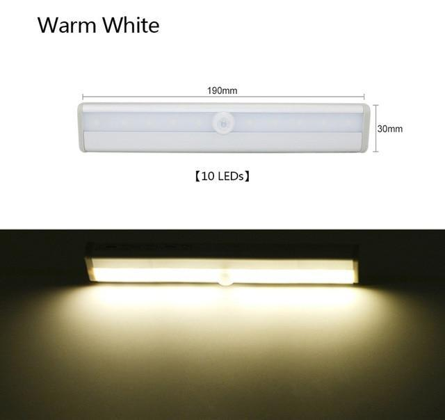 Motion Sensor LED Cabinet Light Wardrobe Kitchen Light - 10 LED Warm White / Rechargeable